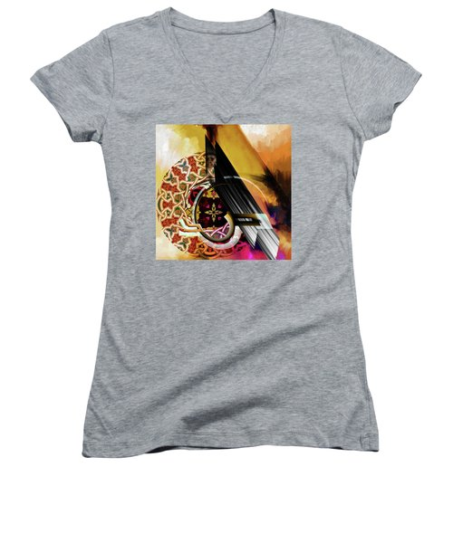 Women's V-Neck T-Shirt (Junior Cut) featuring the painting Calligraphy 103 1 1 by Mawra Tahreem
