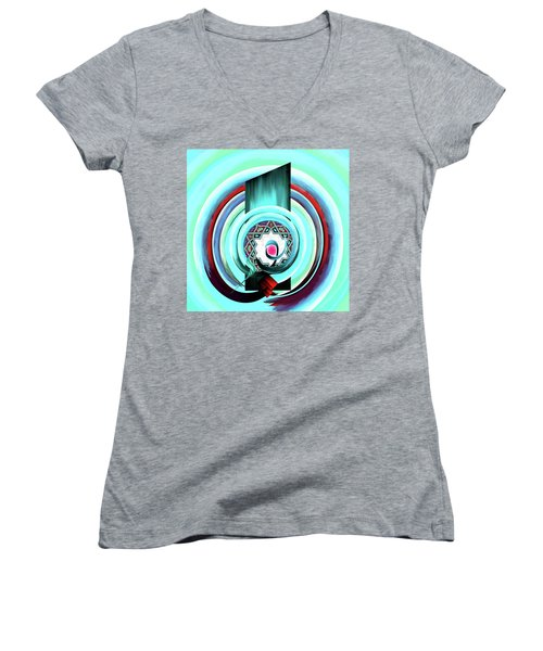 Women's V-Neck T-Shirt (Junior Cut) featuring the painting Calligraphy 104 4 by Mawra Tahreem