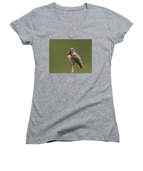 Women's V-Neck T-Shirt (Junior Cut) featuring the photograph Calliope Hummingbird by Doug Herr