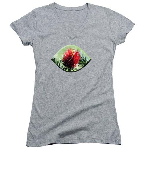 Callistemon - Bottle Brush T-shirt 7 Women's V-Neck T-Shirt (Junior Cut) by Isam Awad