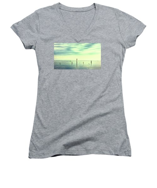 Women's V-Neck T-Shirt featuring the photograph Calm Bayshore Morning N0 1 by Gary Slawsky