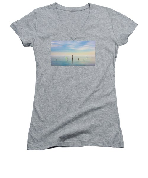 Women's V-Neck T-Shirt featuring the photograph Calm Bayshore Morning N0 2 by Gary Slawsky