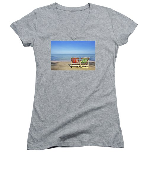 Women's V-Neck featuring the painting Calm Beach by Harry Warrick