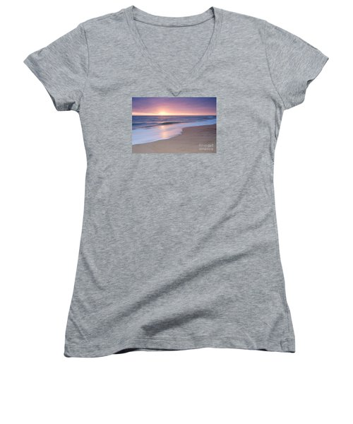 Calm Beach Waves During Sunset Women's V-Neck