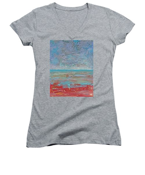 Calm Before The Storm Women's V-Neck T-Shirt (Junior Cut) by Walter Fahmy