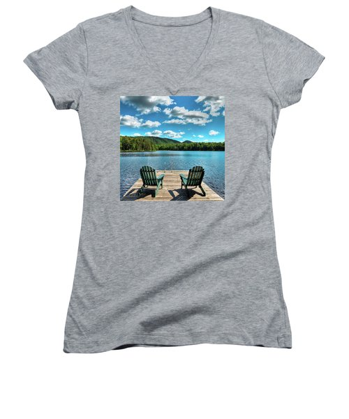 Calm In The Adirondacks Women's V-Neck T-Shirt (Junior Cut) by David Patterson