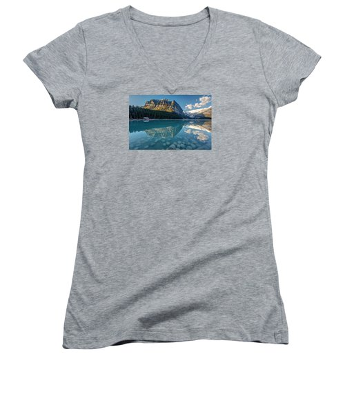 Calm Lake Louise Reflection Women's V-Neck T-Shirt (Junior Cut) by Pierre Leclerc Photography