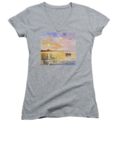 Calm Morning Women's V-Neck T-Shirt (Junior Cut) by Irek Szelag