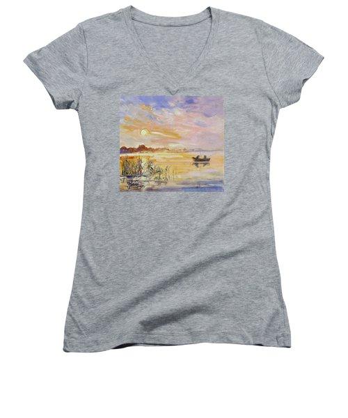 Calm Morning Women's V-Neck T-Shirt (Junior Cut)