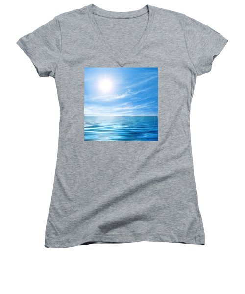 Calm Seascape Women's V-Neck T-Shirt (Junior Cut) by Carlos Caetano