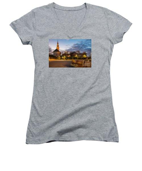 Women's V-Neck T-Shirt (Junior Cut) featuring the photograph Calm Twilight In Novi Sad Vojvodina by Jivko Nakev