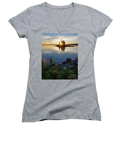Women's V-Neck T-Shirt (Junior Cut) featuring the photograph Calm Water At Sunset, Harpswell, Maine -99056-99058 by John Bald