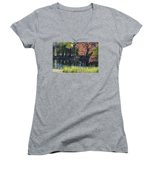 Calm Waters Women's V-Neck T-Shirt (Junior Cut) by Ricky Dean