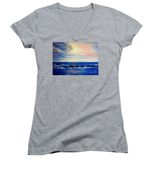 Calming Wave Women's V-Neck (Athletic Fit)