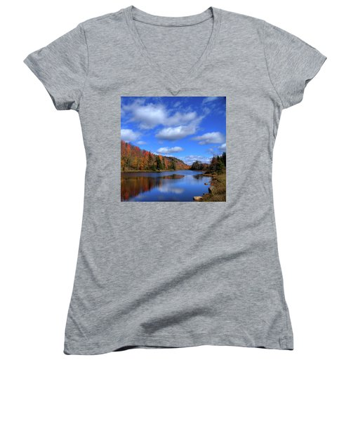 Calmness On Bald Mountain Pond Women's V-Neck T-Shirt (Junior Cut) by David Patterson