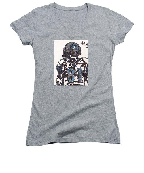 Calvin Johnson Jr 3 Women's V-Neck T-Shirt (Junior Cut) by Jeremiah Colley