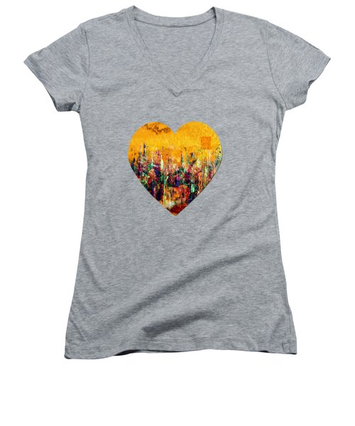 Women's V-Neck featuring the painting Camaraderie  by Valerie Anne Kelly