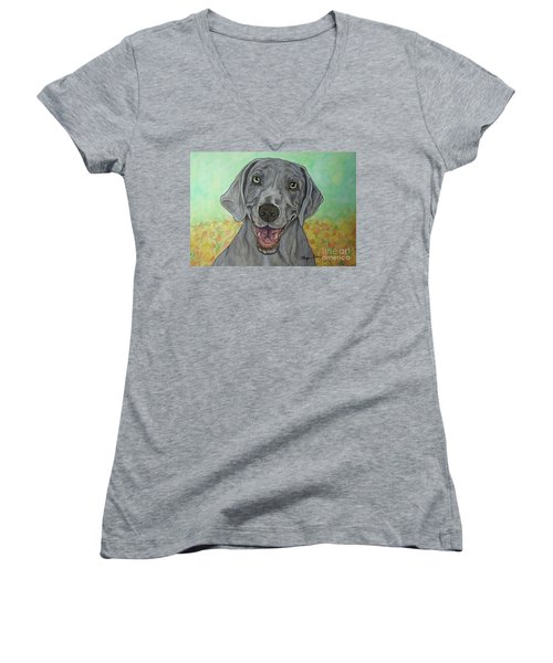 Camden The Weimaraner Women's V-Neck (Athletic Fit)