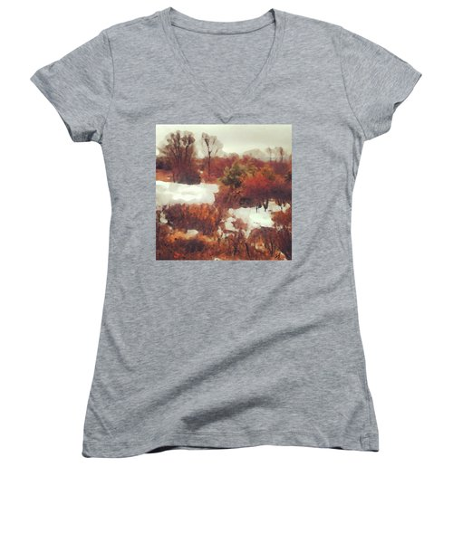 Women's V-Neck featuring the digital art Came An Early Snow by Shelli Fitzpatrick