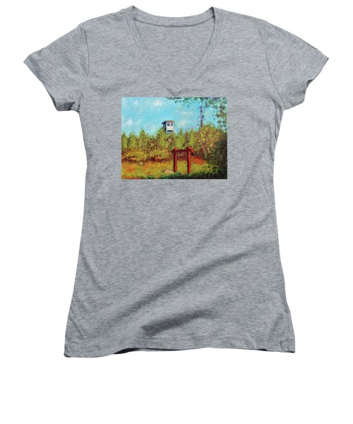 Camel Top Fire Tower Women's V-Neck (Athletic Fit)