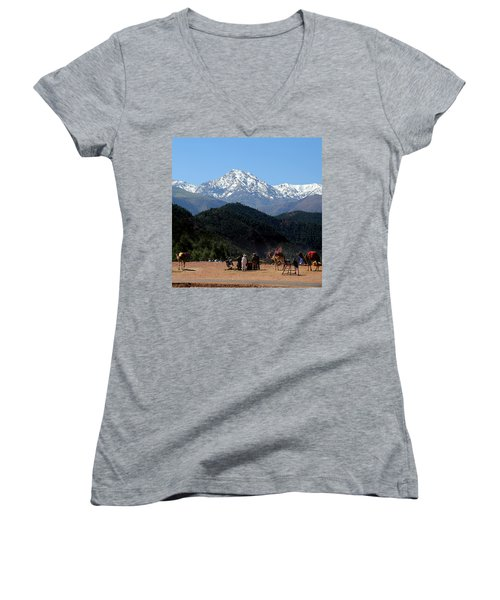 Women's V-Neck T-Shirt (Junior Cut) featuring the photograph Camels 1 by Andrew Fare