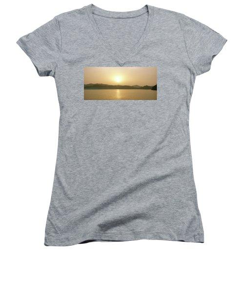 Cameroon Sunrise Africa Women's V-Neck T-Shirt