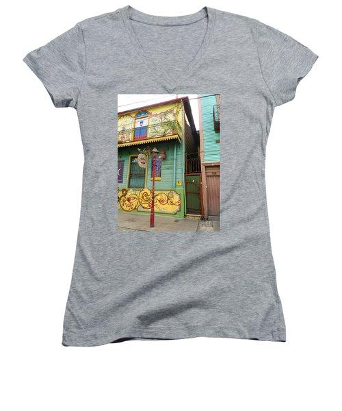 Women's V-Neck T-Shirt (Junior Cut) featuring the photograph Caminito La Boca by Silvia Bruno