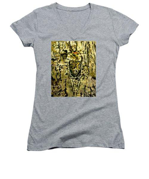 Camouflage Women's V-Neck T-Shirt (Junior Cut) by Alice Leggett