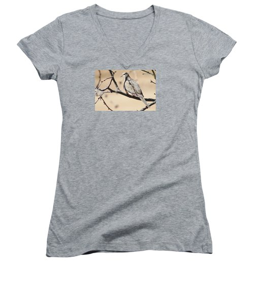 Camouflaged Mourning Dove Women's V-Neck (Athletic Fit)