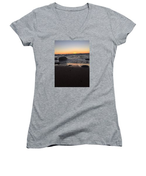 Camp In The Fall Women's V-Neck T-Shirt (Junior Cut) by Paula Brown