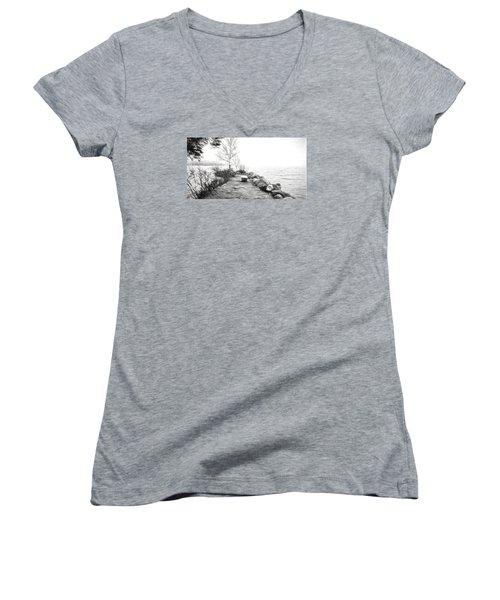 Camp Of The Woods, Ny Women's V-Neck T-Shirt (Junior Cut) by Rena Trepanier