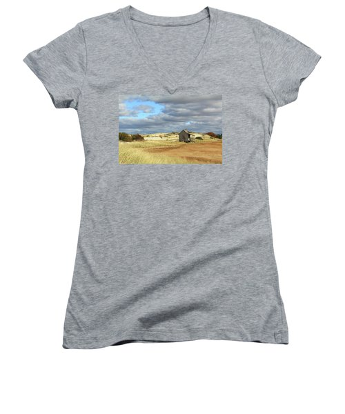 Camp On The Marsh And Dunes Women's V-Neck T-Shirt (Junior Cut) by Roupen  Baker