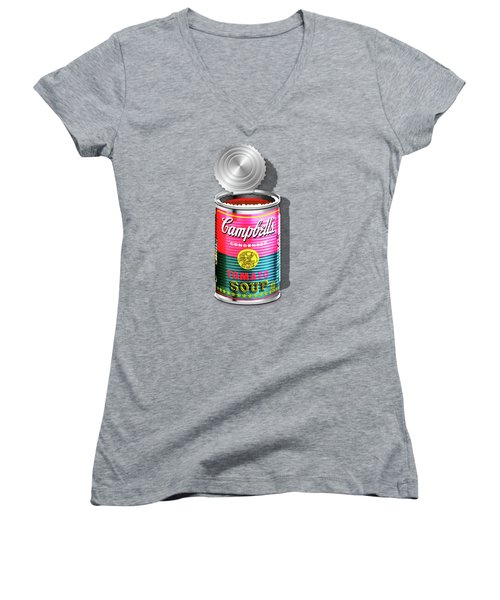 Campbell's Soup Revisited - Pink And Green Women's V-Neck T-Shirt (Junior Cut)
