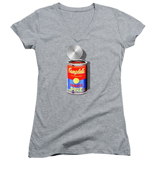 Campbell's Soup Revisited - Red And Blue   Women's V-Neck T-Shirt (Junior Cut)