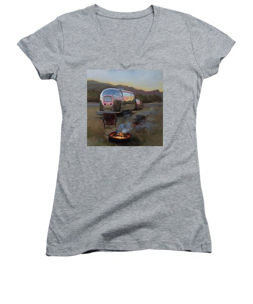 Campfire At Palo Duro Women's V-Neck (Athletic Fit)