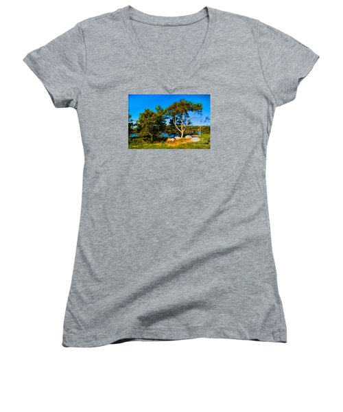 Women's V-Neck T-Shirt (Junior Cut) featuring the photograph Campfire Lake by Rick Bragan
