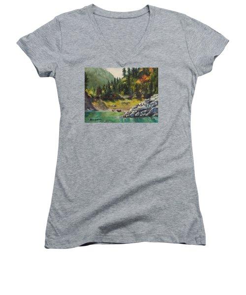 Camping On The Lake Shore Women's V-Neck T-Shirt (Junior Cut) by Lori Brackett