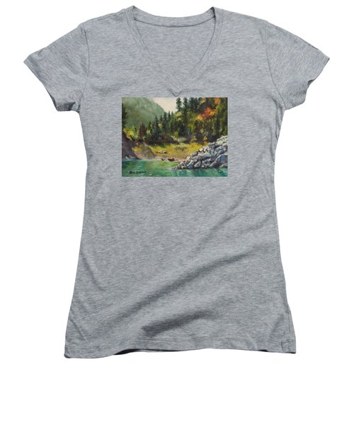 Camping On The Lake Shore Women's V-Neck (Athletic Fit)