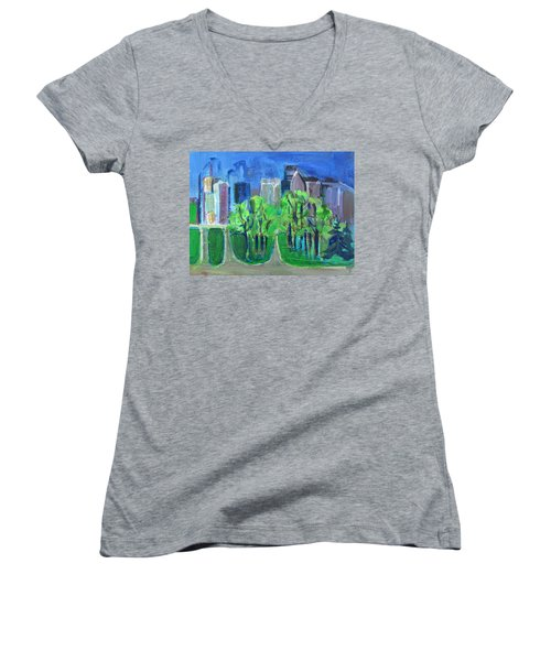 Women's V-Neck T-Shirt (Junior Cut) featuring the painting Campus by Betty Pieper