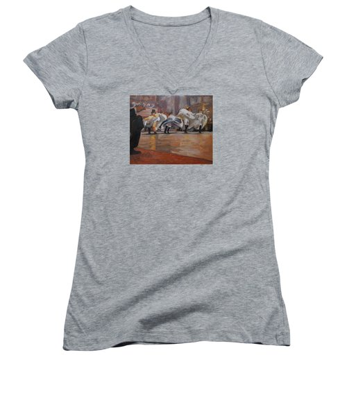 Can Can In The Moulin Rouge Paris Women's V-Neck T-Shirt (Junior Cut) by Nop Briex