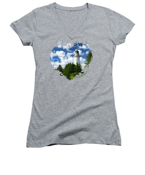 Cana Island Lighthouse Cloudscape In Door County Women's V-Neck
