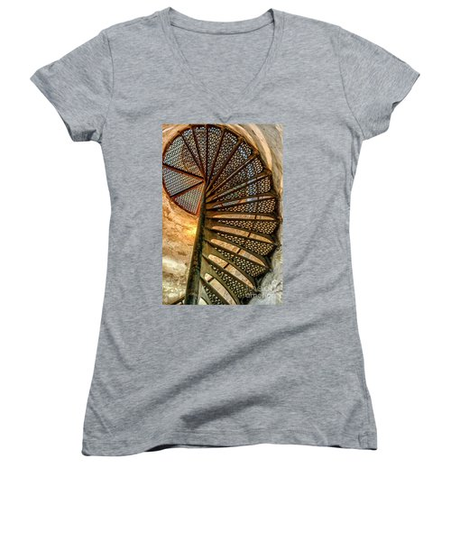 Cana Island Lighthouse Staircase Women's V-Neck (Athletic Fit)