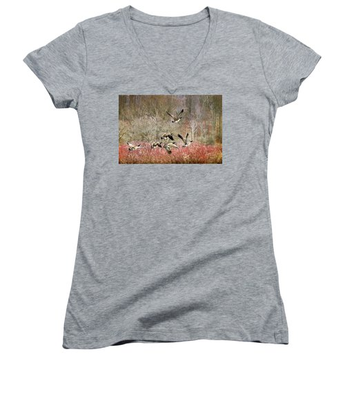 Canada Geese In Flight Women's V-Neck T-Shirt