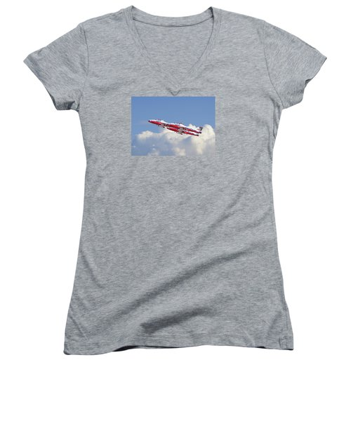 Women's V-Neck T-Shirt (Junior Cut) featuring the photograph Canadian Air Force Aerobatic Team - Snowbirds by Pat Speirs