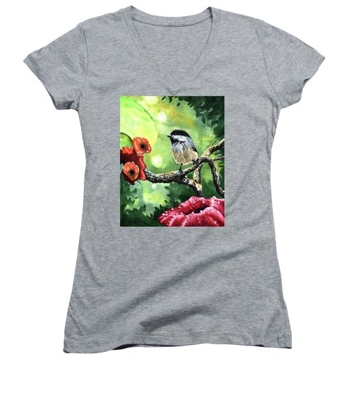 Canadian Chickadee Women's V-Neck (Athletic Fit)