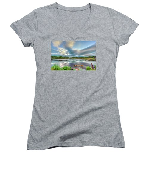 Canadian Geese On A Marylamd Pond Women's V-Neck