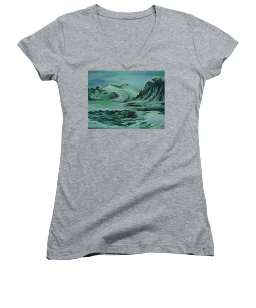 Women's V-Neck T-Shirt (Junior Cut) featuring the painting Canadian North by Anna  Duyunova