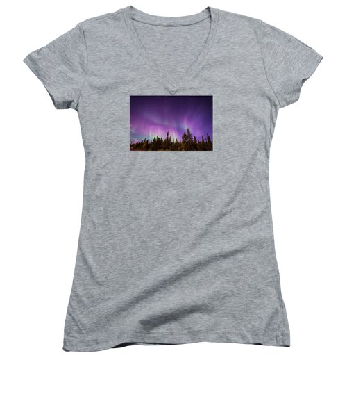 Canadian Northern Lights Women's V-Neck (Athletic Fit)
