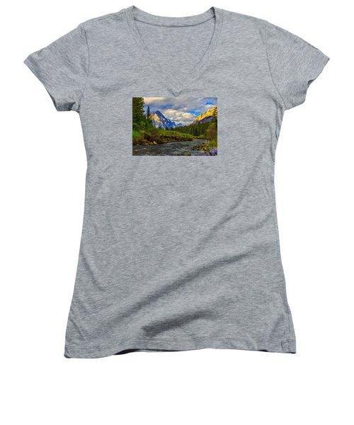 Canadian Rocky Mountains Women's V-Neck T-Shirt (Junior Cut) by John Roberts