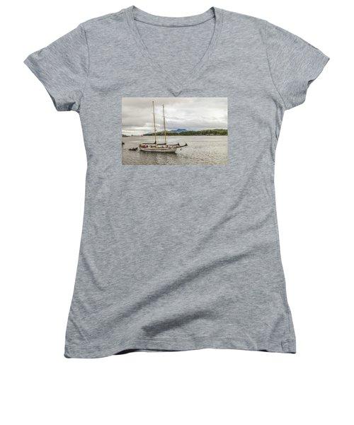 Canadian Sailing Schooner Women's V-Neck T-Shirt (Junior Cut) by Timothy Latta